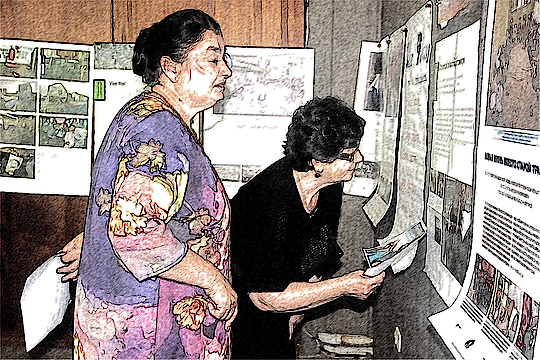 In Abkhazia, one target group is the mothers who lost their sons during the war in 1992/93. Here, participants study the Peace Counts exhibition and consider their own visions of peace.